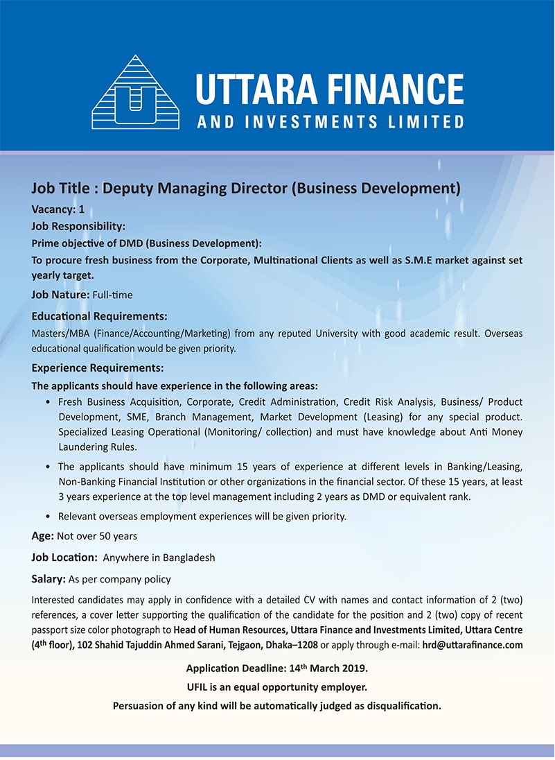 Uttara Finance and Investments Limited Job Circular 2019