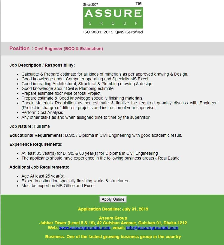 Assure Group Job Circular 2019