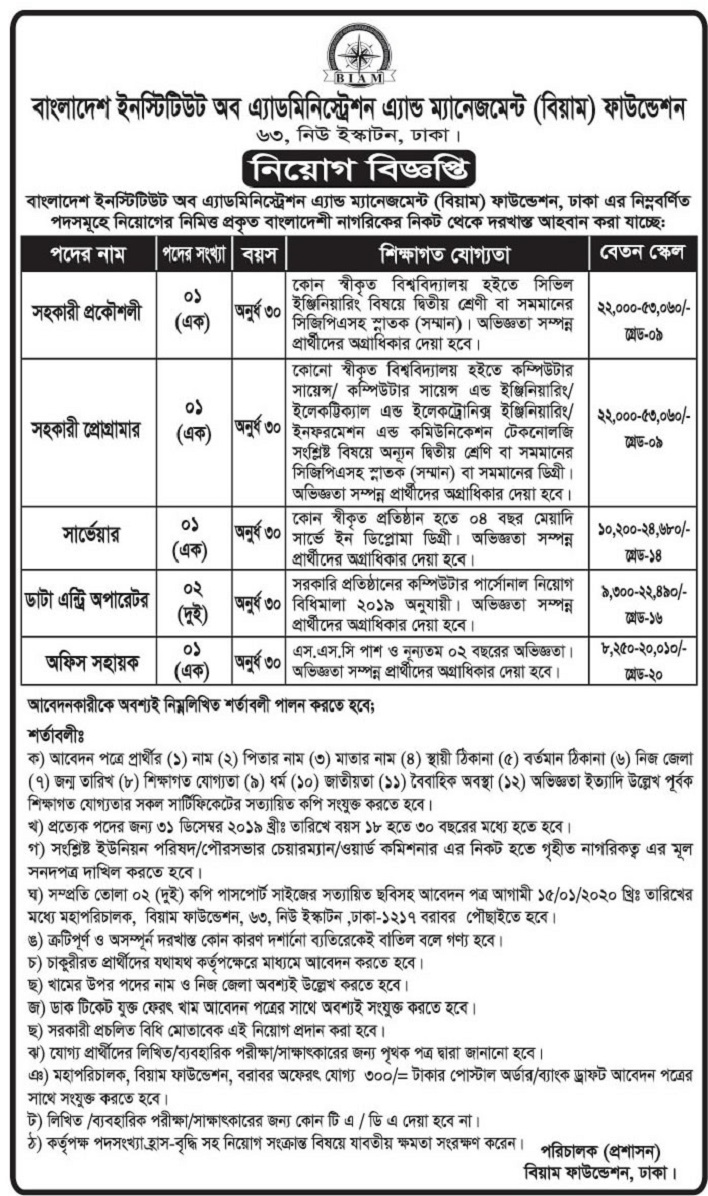 BIAM Foundation Job Circular 2019
