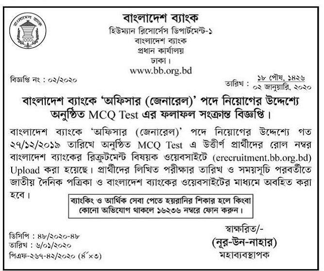 Bangladesh Bank Exam Result 2020