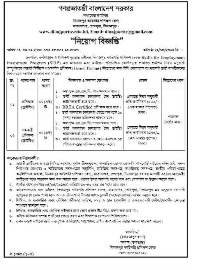 Bangladesh Technical Training Center (TTC) Job Circular 2019