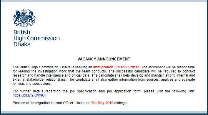 British High Commission Job Circular 2019