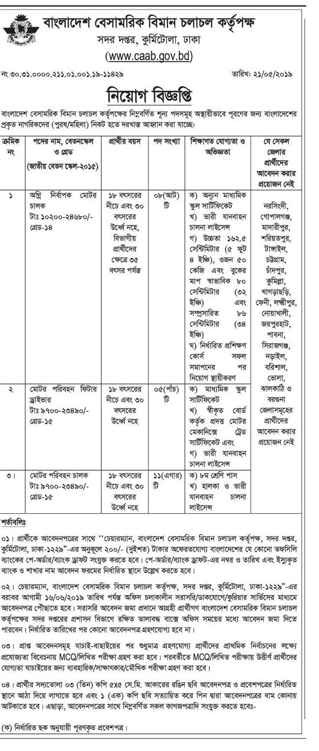 Civil Aviation Authority, Bangladesh Job Circular 2019