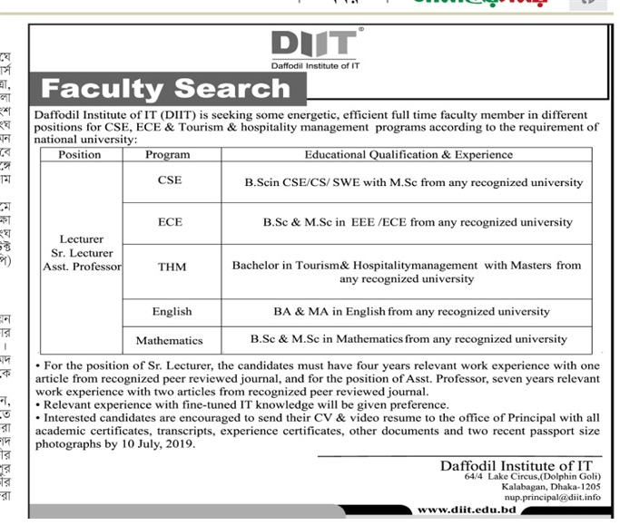 Daffodil International University Jobs Circular 2019