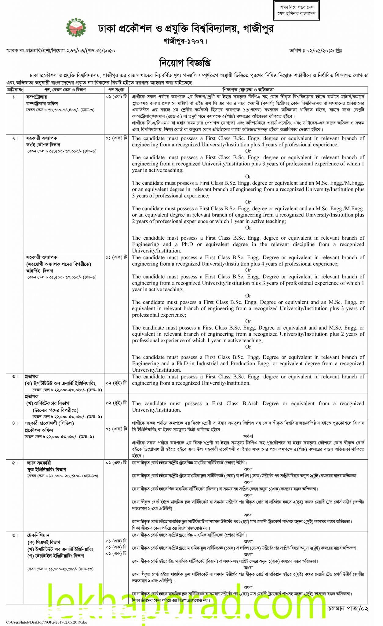 Dhaka University of Engineering & Technology DUET Job Circular 2019