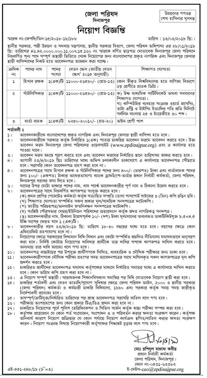 District Council Job Circular 2019