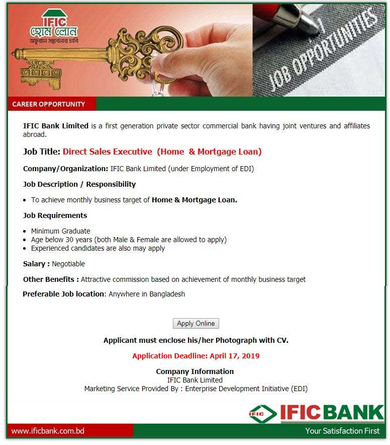 IFIC Bank Limited Job Circular 2019