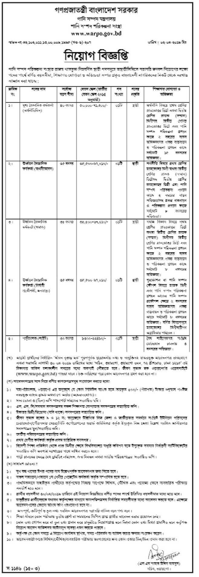Ministry of Water Resources mowr Job Circular 2019