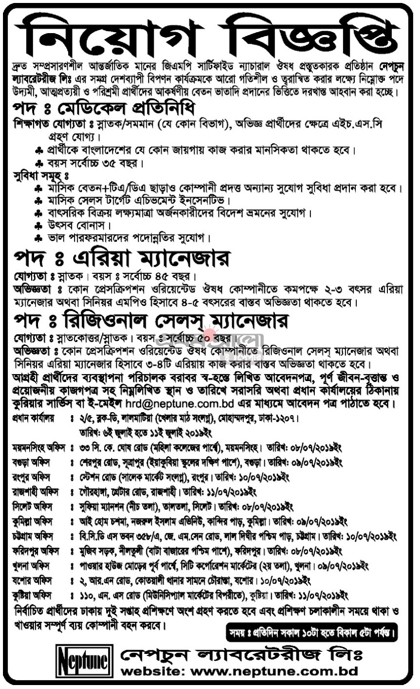 Neptune Laboratories Job Circular 2019