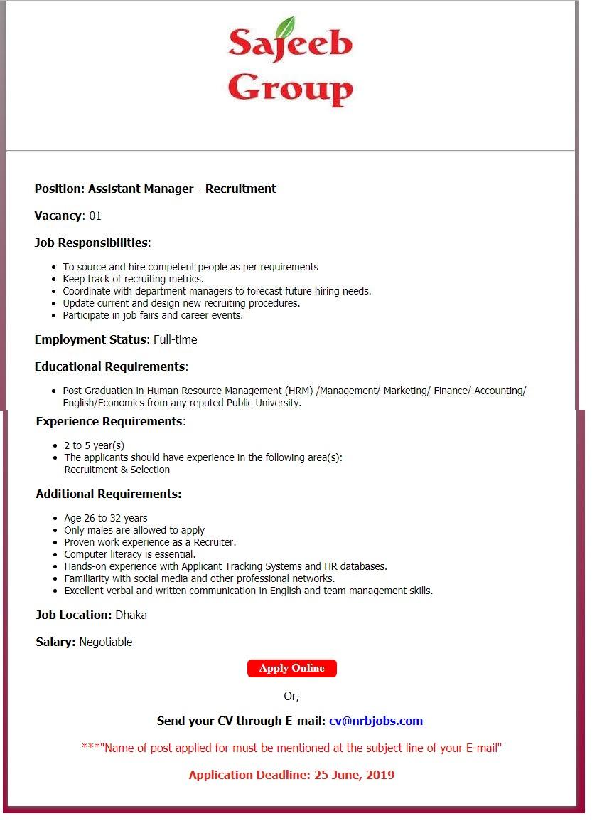 Sajeeb Group Job Circular 2019