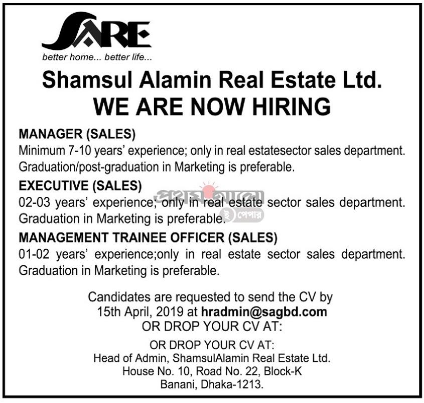 Shamsul Alamin Real Estate Ltd Job Circular 2019