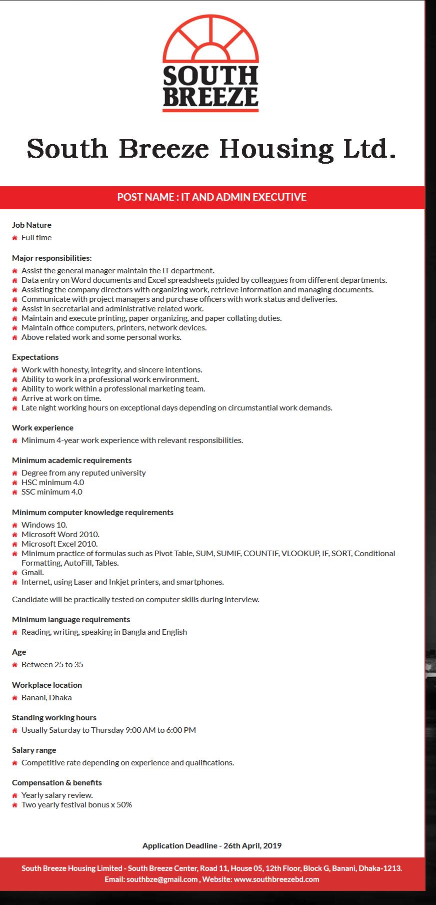 South Breeze Housing Ltd Job Circular 2019