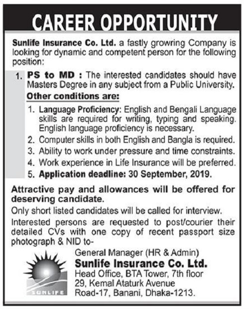 Sunlife Insurance Company Limited Job Circular 2019