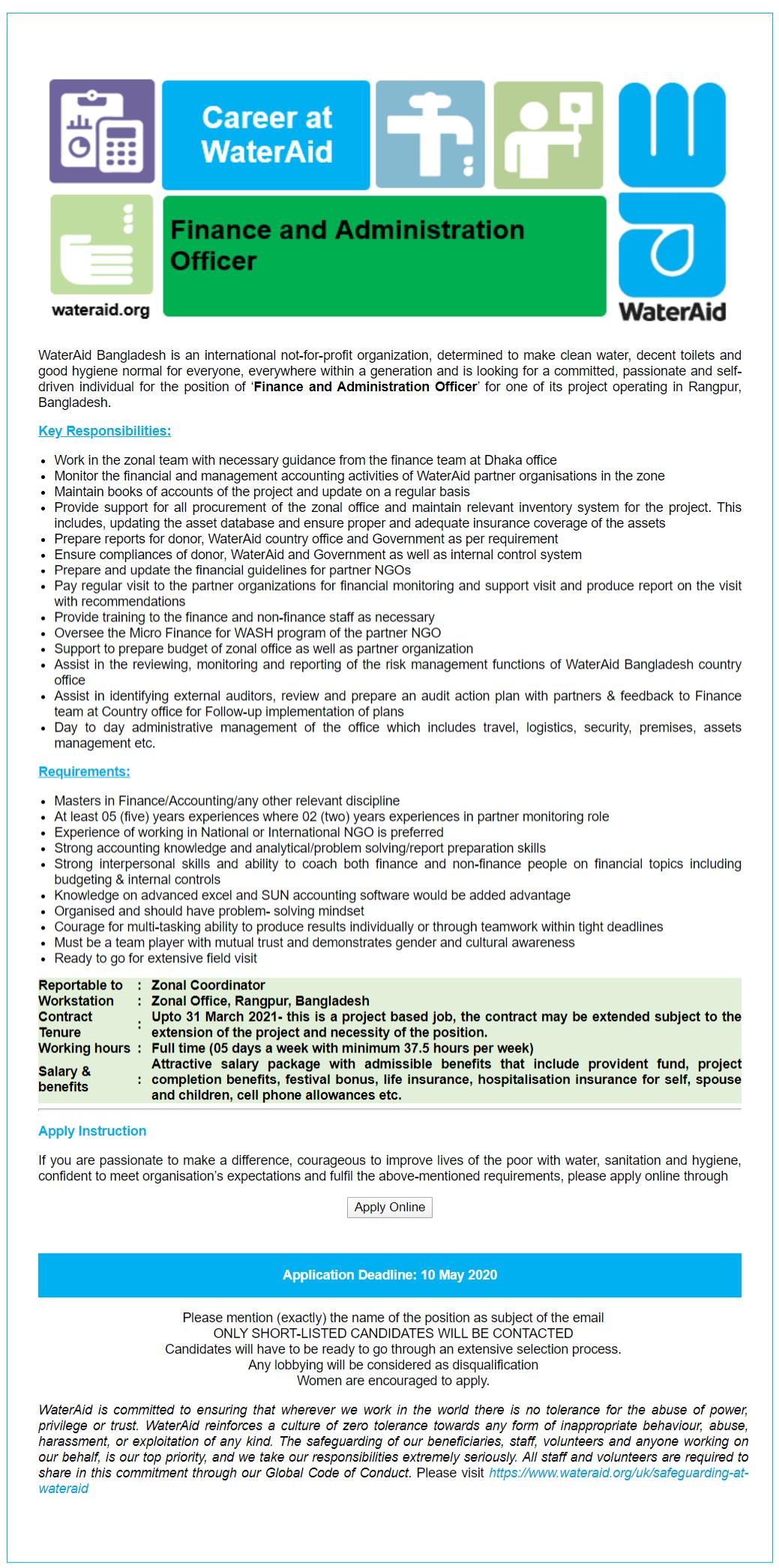 WaterAid Bangladesh Job Circular 2020