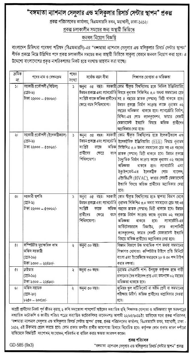 Bangamata National Cellular and Molecular Research Center Job Circular 2019