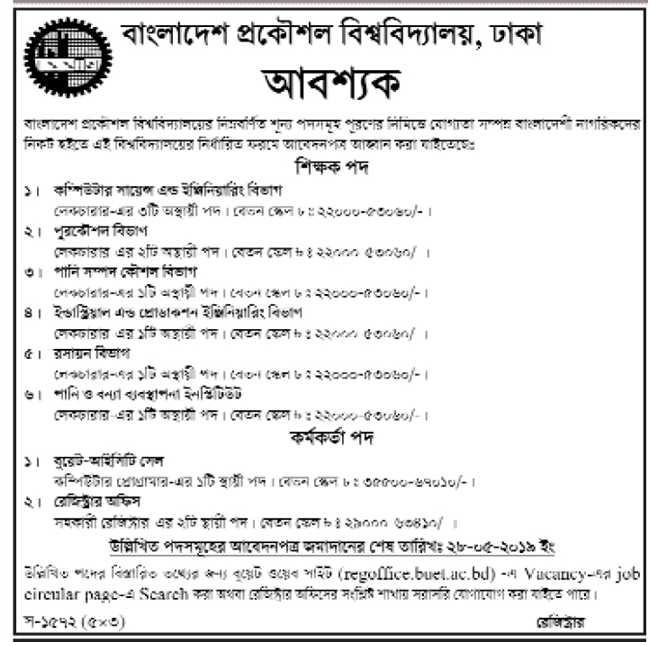 Bangladesh Engineering University and Technology BUET Job Circular 2019