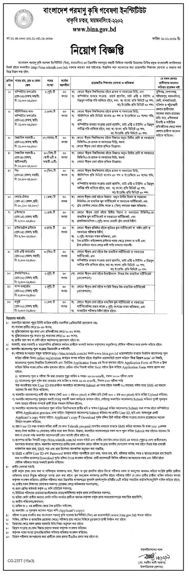 Bangladesh Institute of Nuclear Agriculture Job Circular 2020