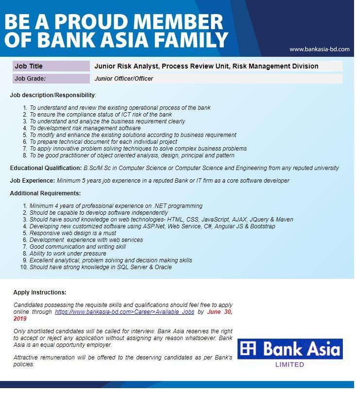 Bank Asia Limited Job Circular 2