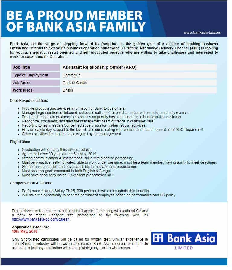 Bank Asia jobs circular 2019