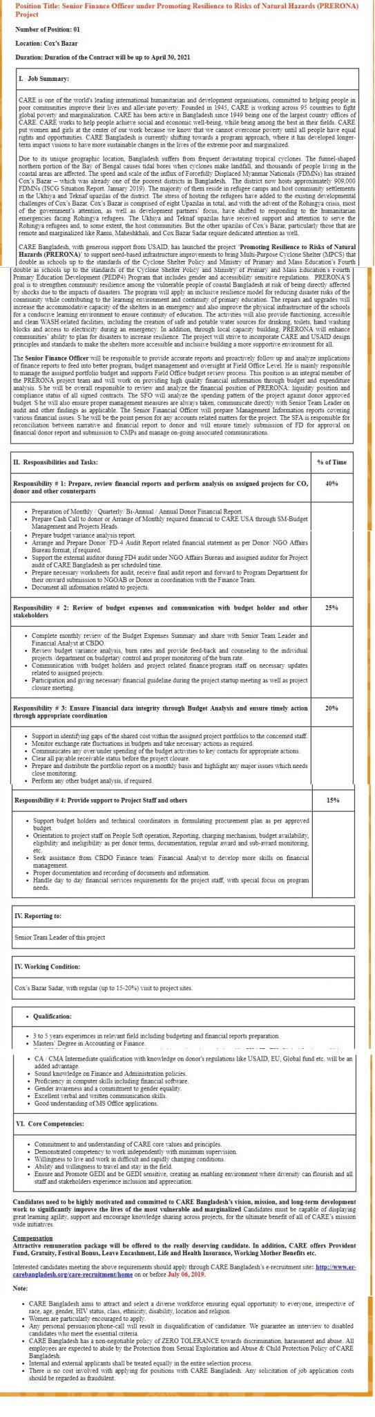 Care Bangladesh Job Circular 2019