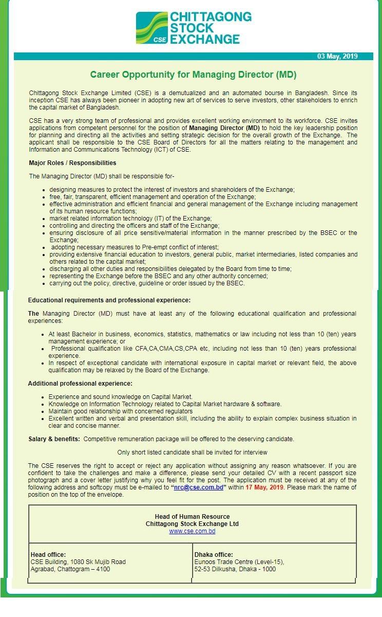 Chittagong Stock Exchange Limited Job Circular 2019