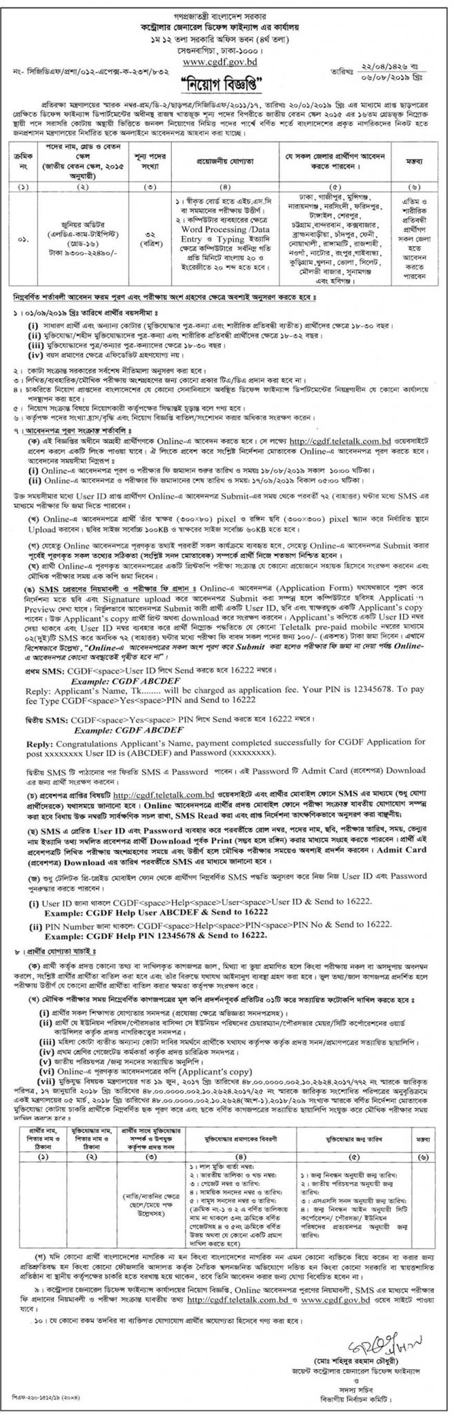 Controller General of Defence Finance Job Circular 2019