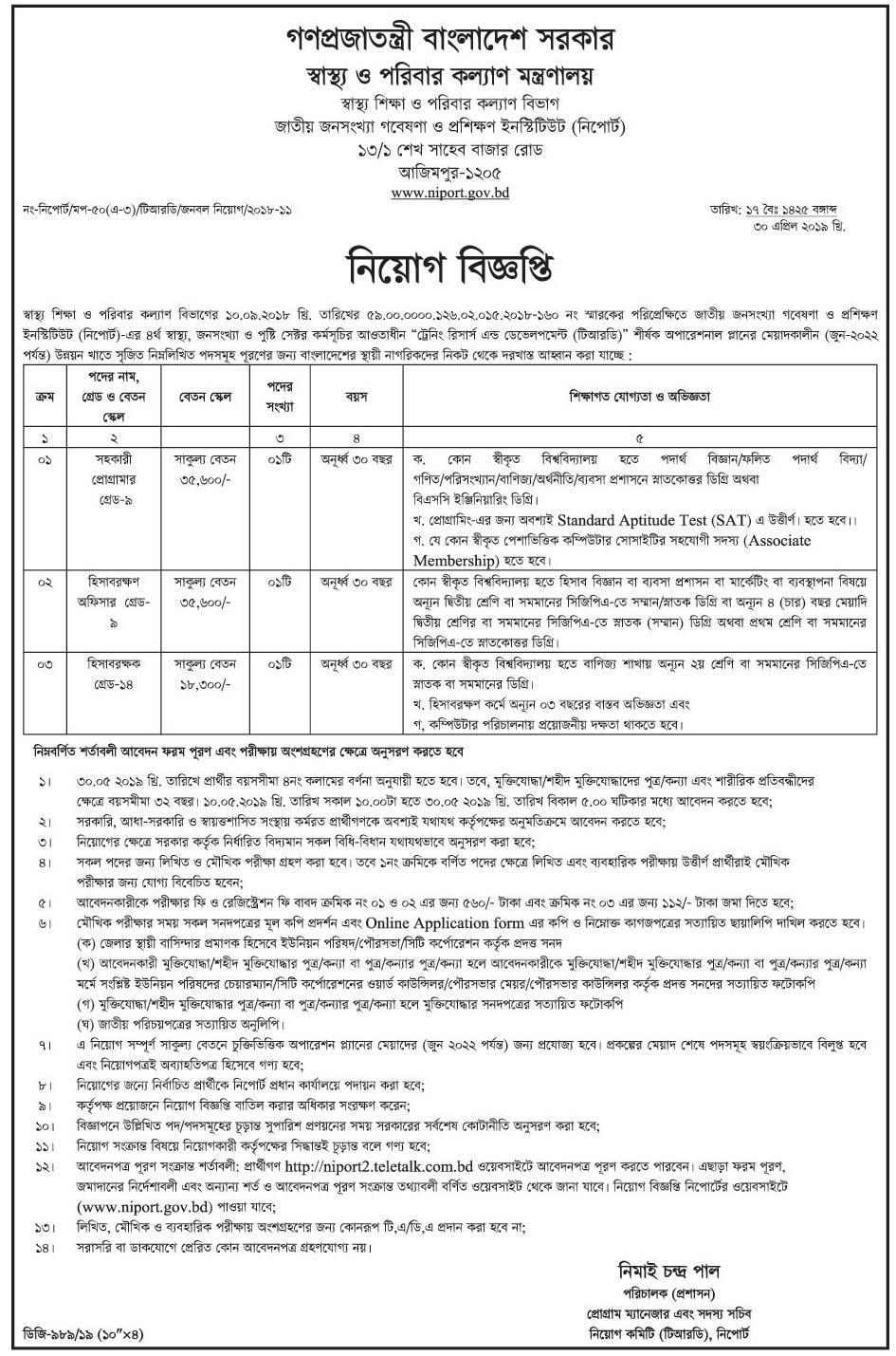 Health Ministry Job Circular In 2019