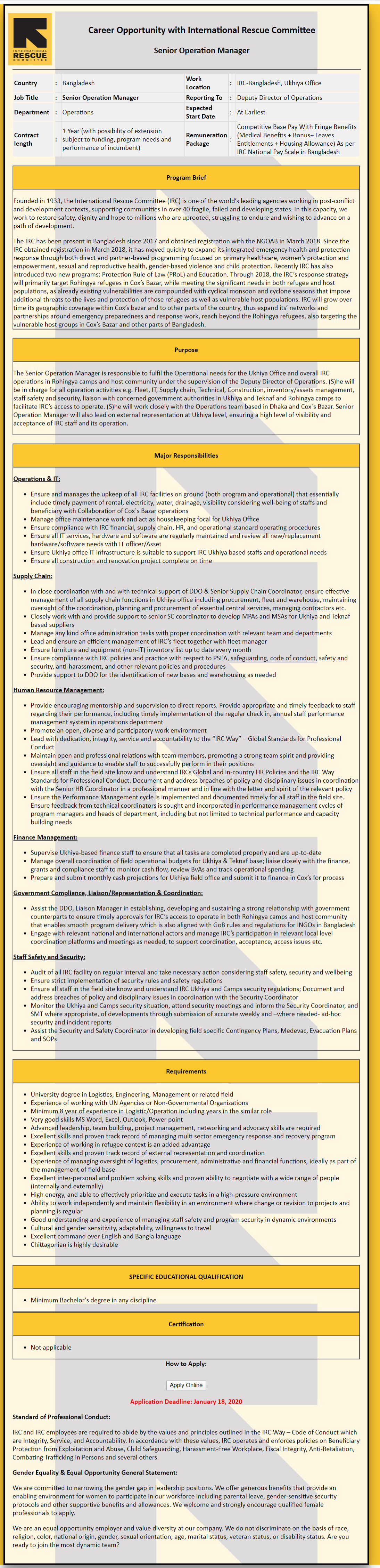 International Rescue Committee Job Circular 2020