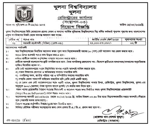 Khulna University KU Job Circular 2019