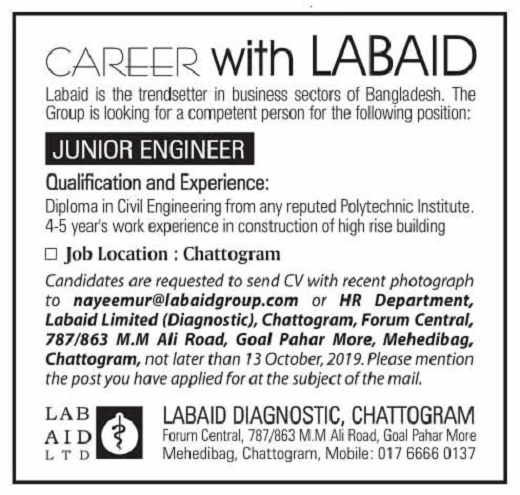 Labaid Limited Diagnostic Job Circular 2019