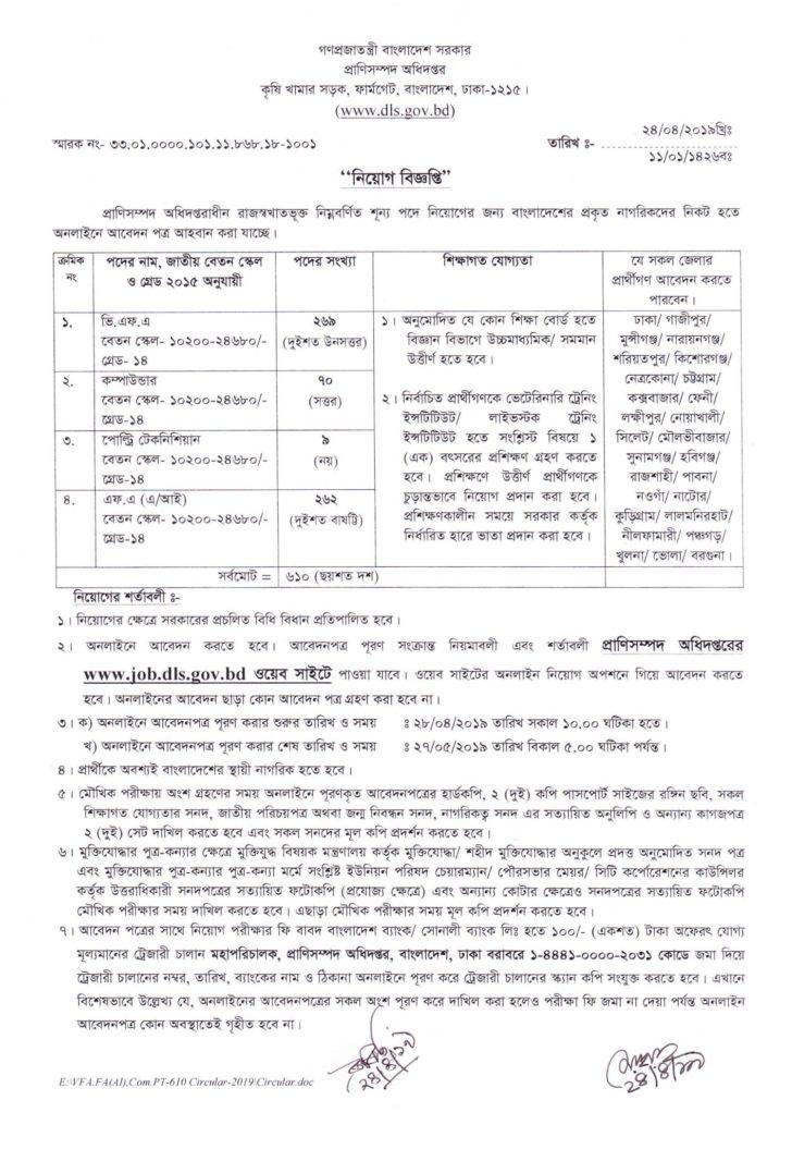Livestock Services Department Job Circular 2019