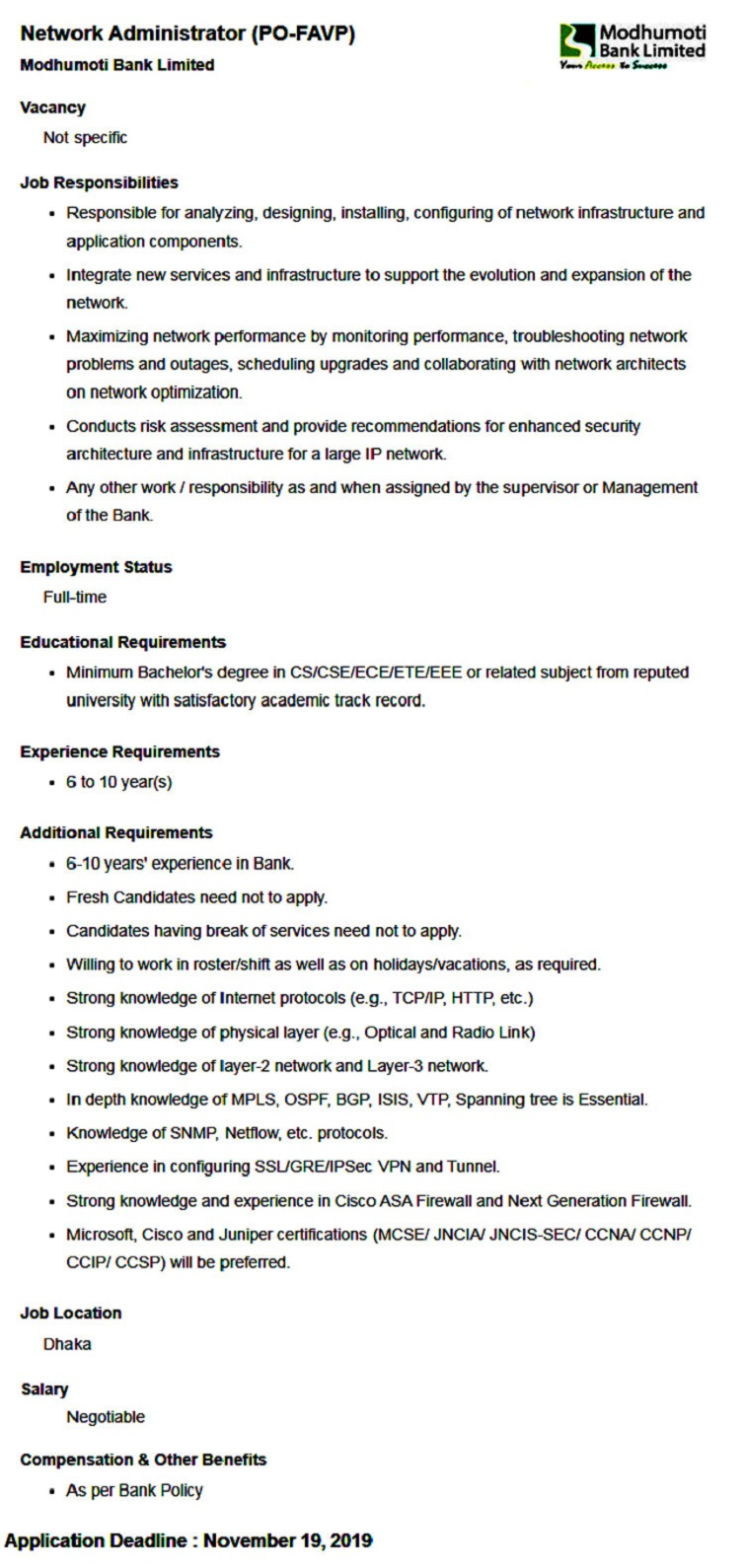 Modhumoti Bank Limited Job Circular 2019