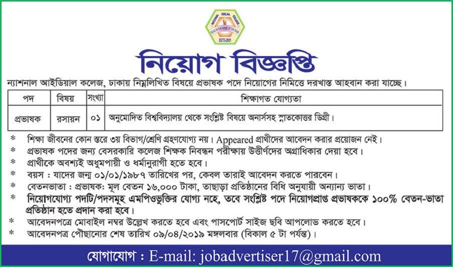 National Ideal College Job Circular 2019