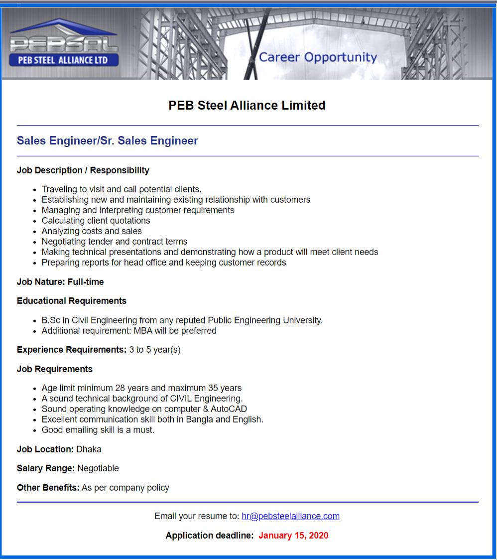 PEB Steel Alliance Ltd (PEBSAL), Bangladesh Job Circular 2020
