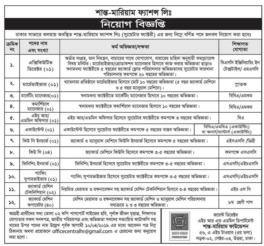 Shanto Mariam Foundation Job Circular 2019