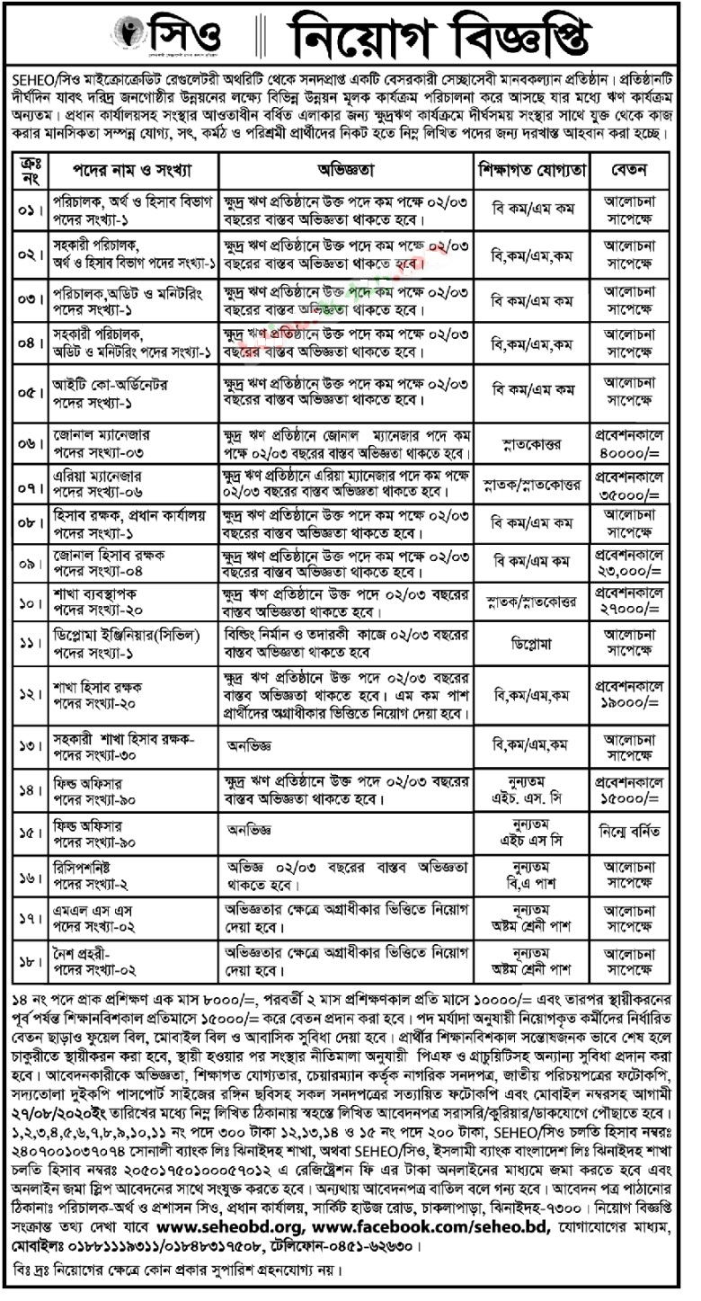 Socio Economic Health Education Organization Job Circular 2020