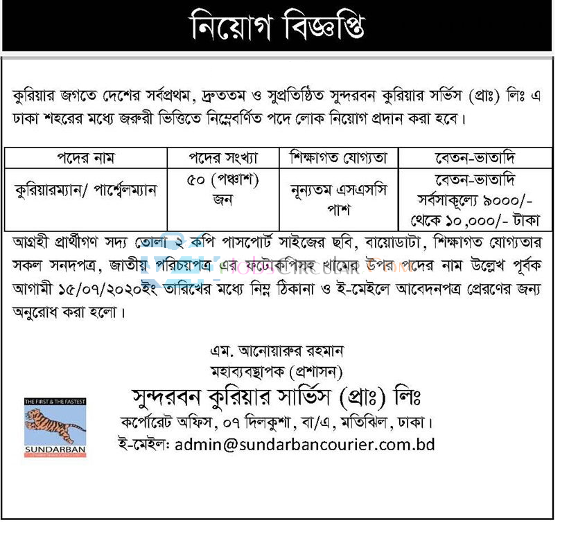 Sundarban Courier Service (Pvt.) Ltd Job Circular 2020