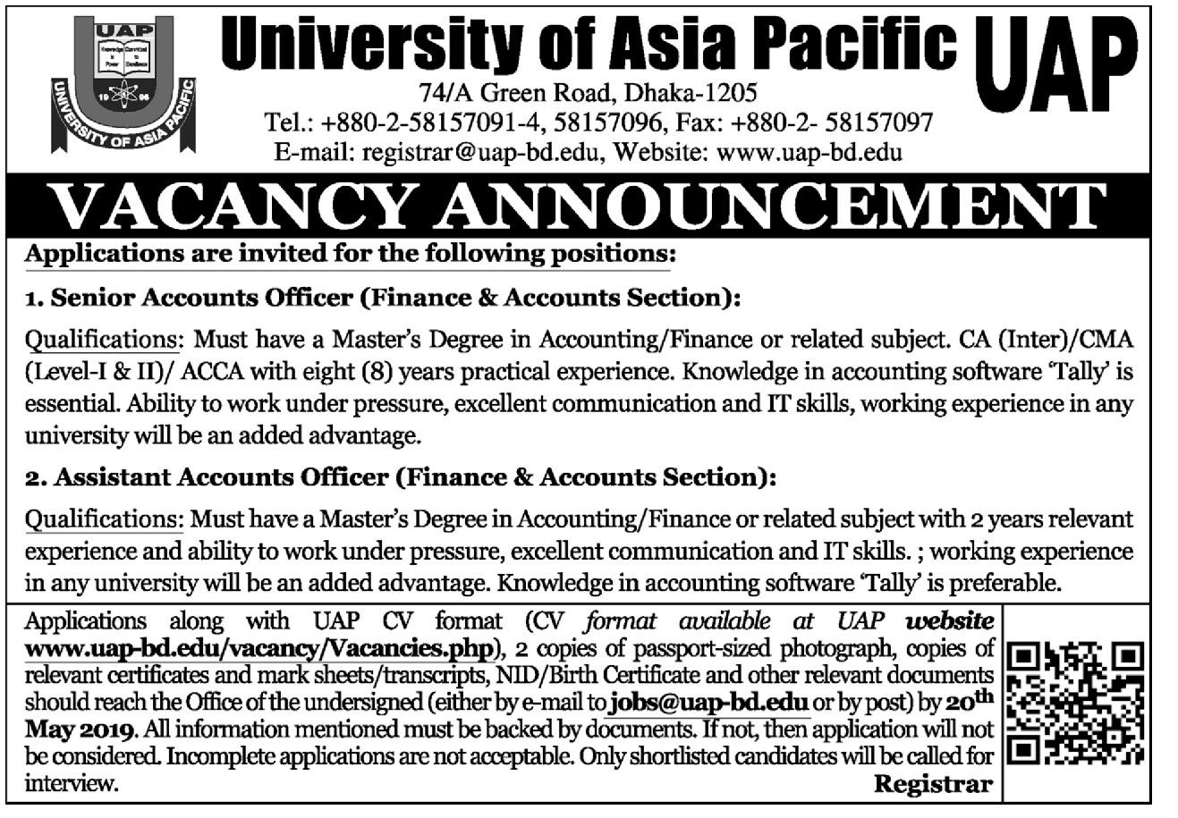 University of Asia Pacific UAP Job Circular 2019