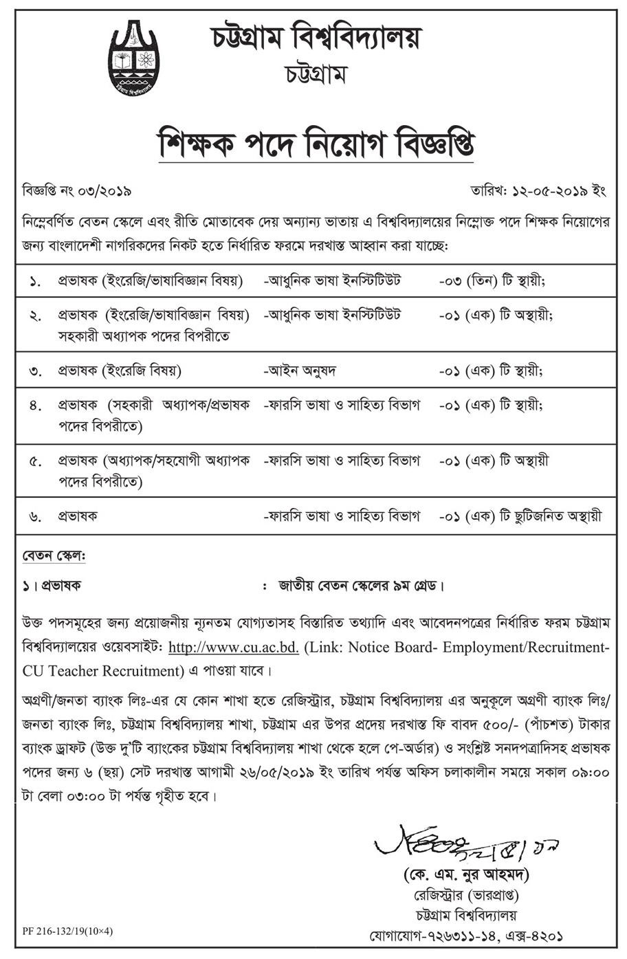 University of Chittagong CU Job Circular 2019