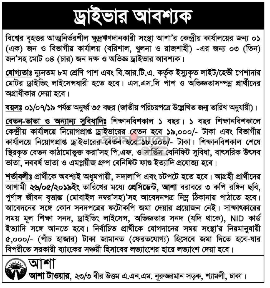 ASA NGO Job Circular 2019