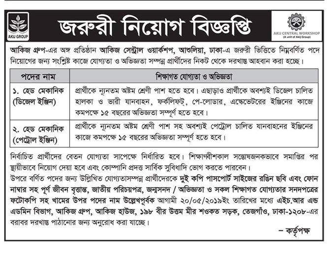 Akij Group Job Circular 2019
