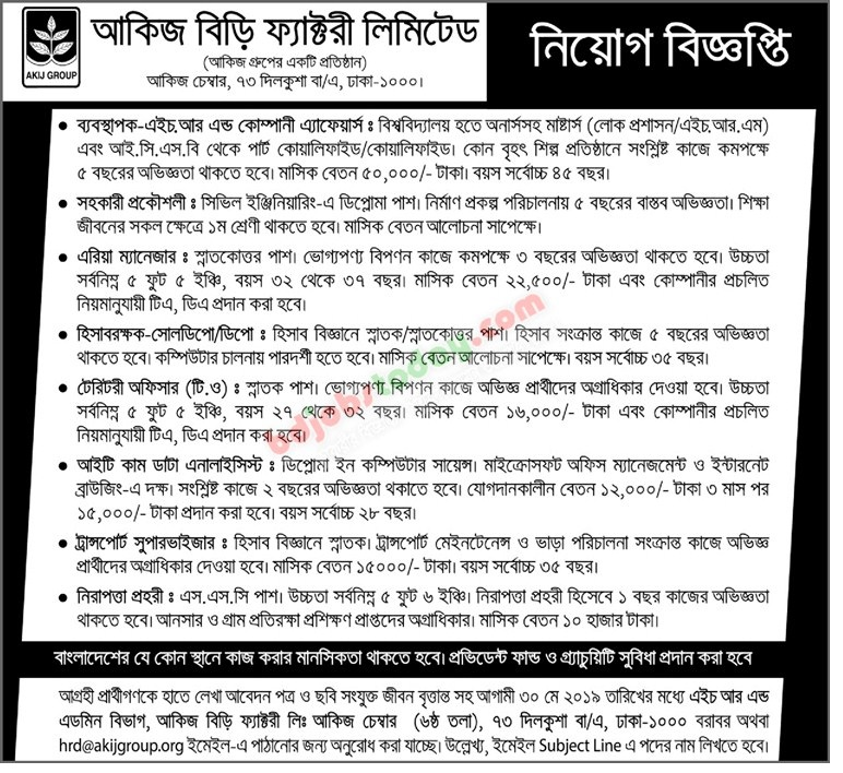 Akij Group Jobs Circular 2019