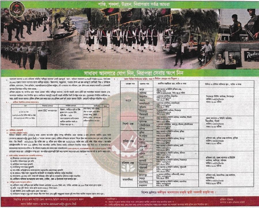 Bangladesh Ansar Bahini Jobs Circular 2019