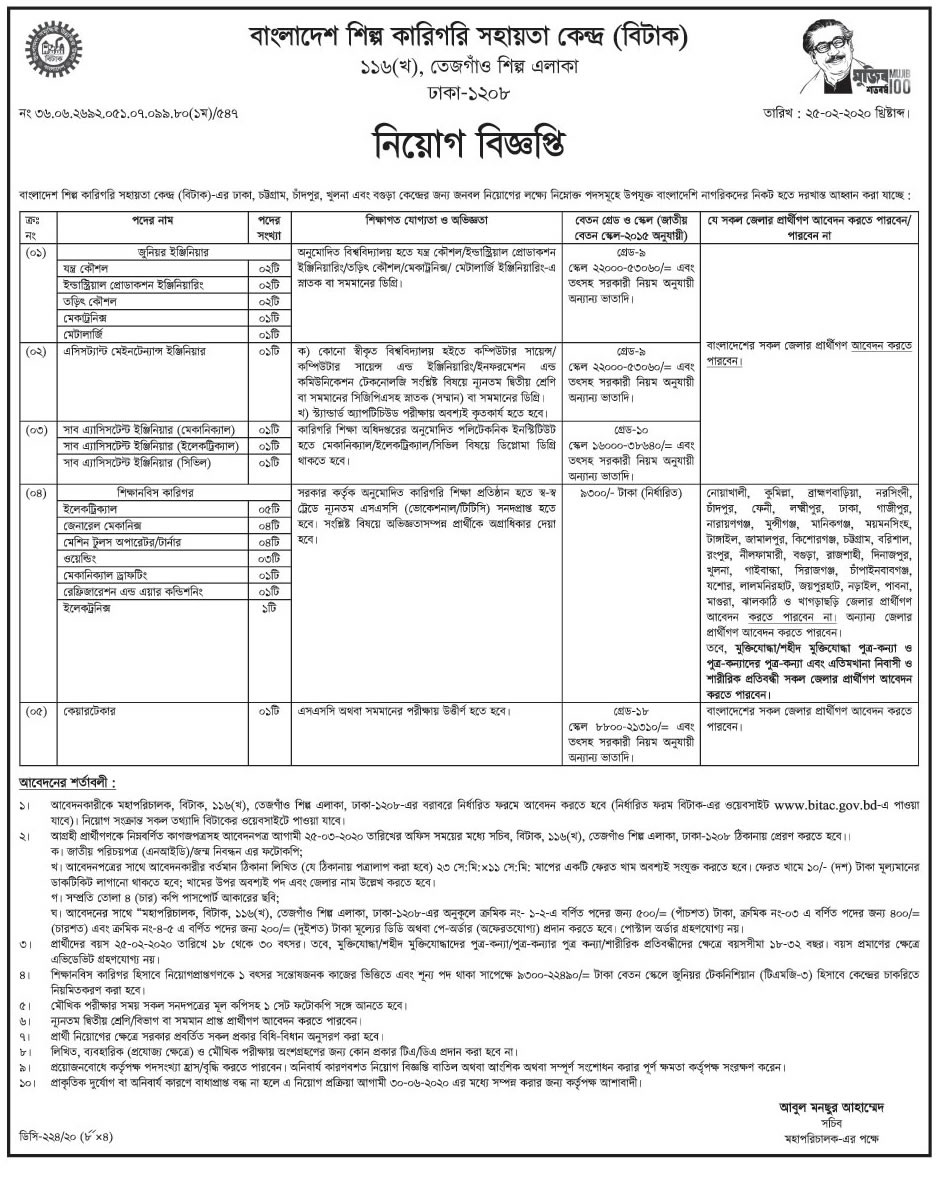 Bangladesh Industrial Technical Assistance Center Jobs Circular 2020