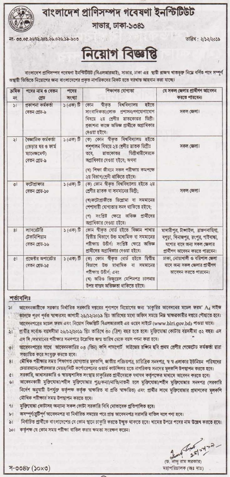 Bangladesh Livestock Research Institute Job Circular 2019