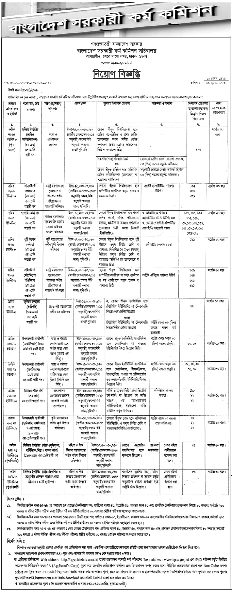 Bangladesh Public Service Commission Job Circular 2019| BD Jobs Careers
