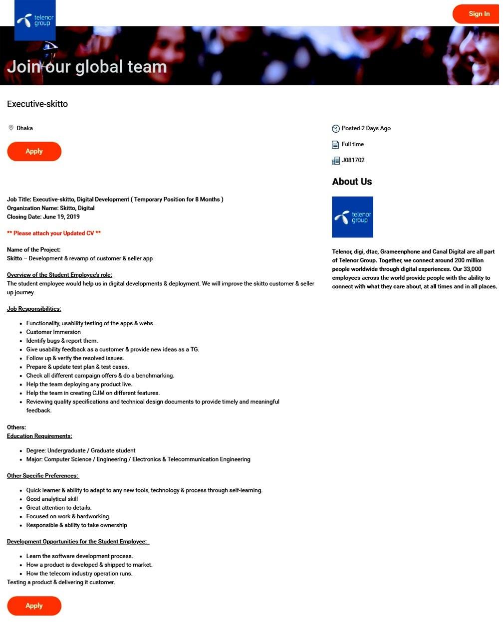 Grameenphone Job 2019