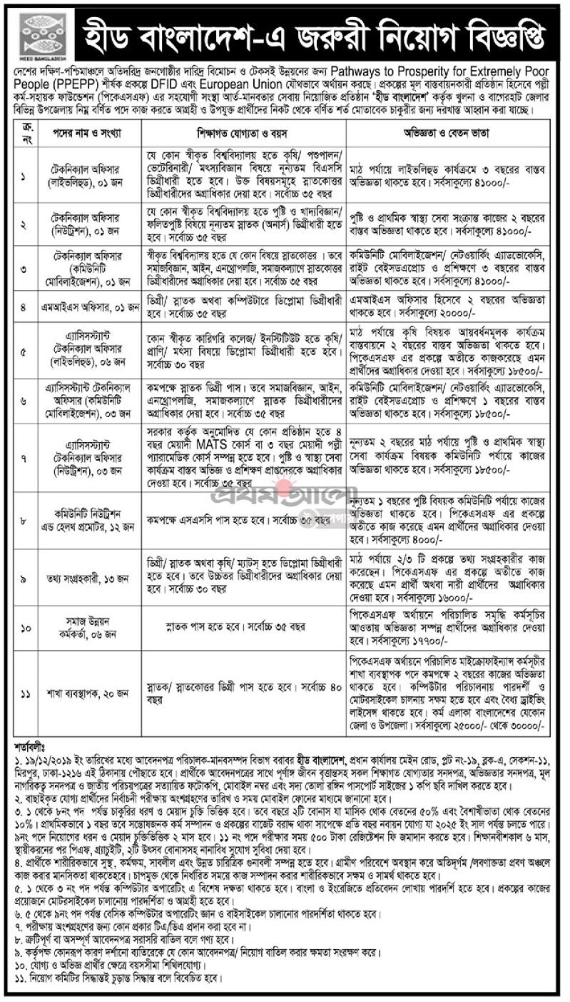 HEED Bangladesh NGO Job Circular 2019