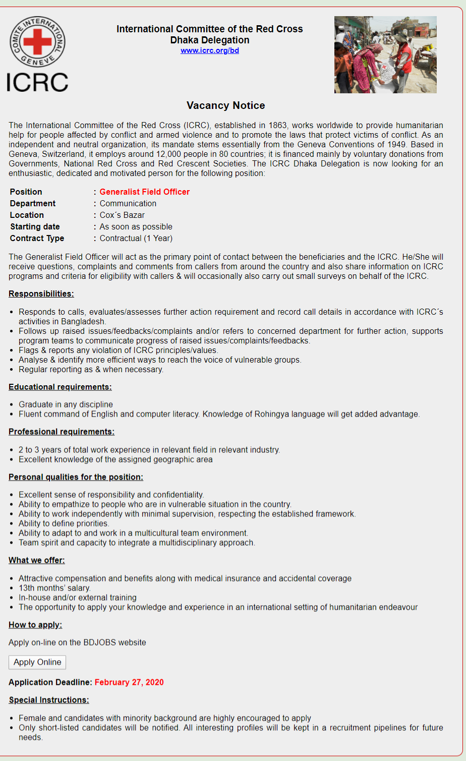 International Committee of the Red Cross (ICRC) Job Circular 2020