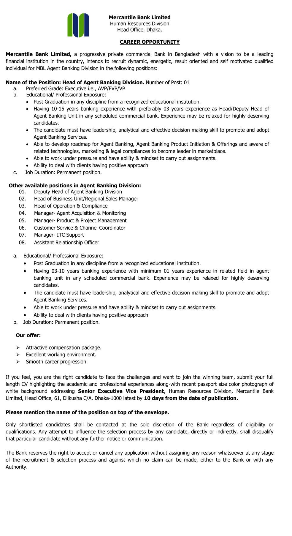 Mercantile Bank Ltd Job circular 2019